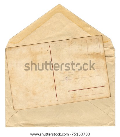 Vintage envelope with an old postcard - stock photo