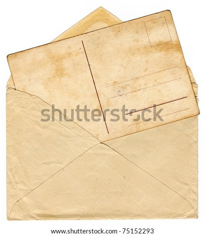 Vintage envelope with an old postcard