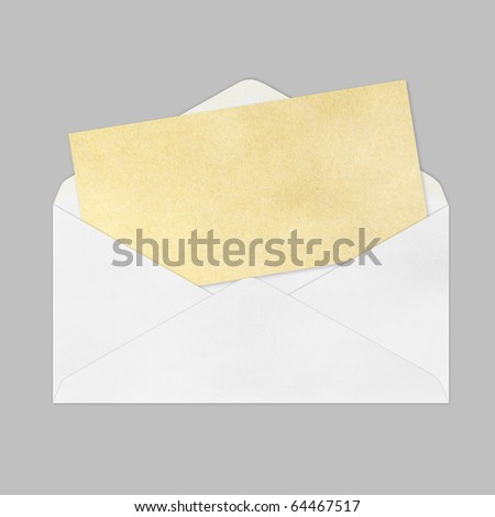 Vintage Envelope with blank Brown paper on gray background. - stock photo