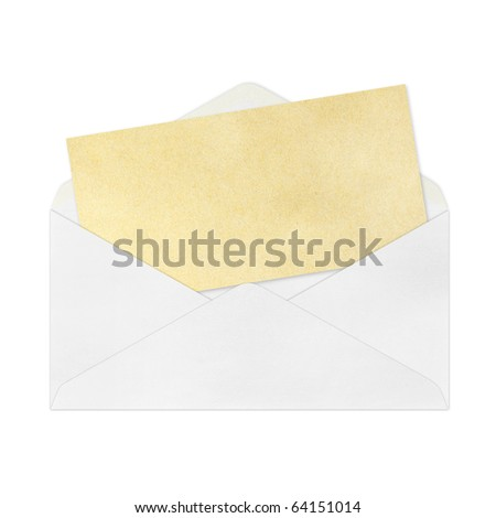 Vintage Envelope with blank Brown  paper on white. - stock photo