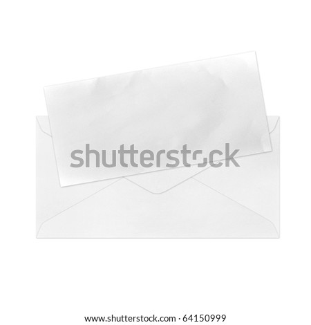 Vintage Envelope with blank paper on white.