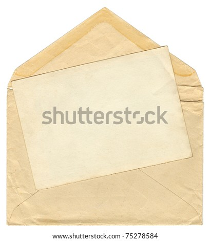 Vintage envelope with blank photo frame - stock photo