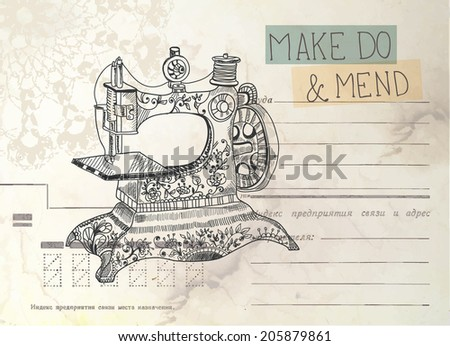 Vintage envelope with old sewing machine and text - stock photo