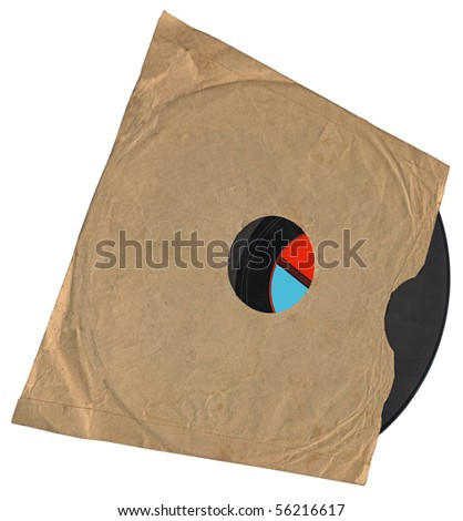 vintage envelope with retro vynil 78 audio record with scratches, clipping path, red label. old disco concept - stock photo
