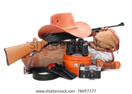 Vintage equipment for travel to tropical destination. - stock photo