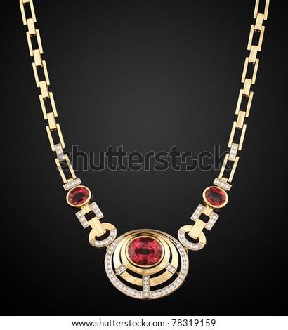 Vintage ethnic necklace on black - stock photo