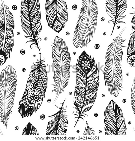 Vintage ethnic tribal feather seamless for your business - stock photo