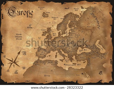 Vintage Europe map horizontal - stock photo