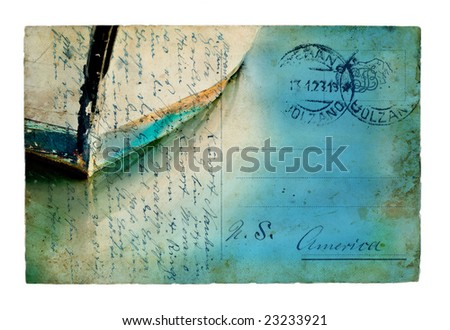 Vintage European postcard combined with a boat image. - stock photo