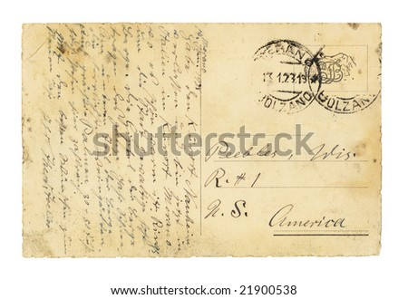 Vintage European postcard written in the 1920's. - stock photo