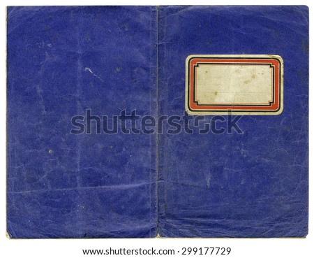 Vintage exercise book - open cover with empty label and grungy surface - xl size - stock photo