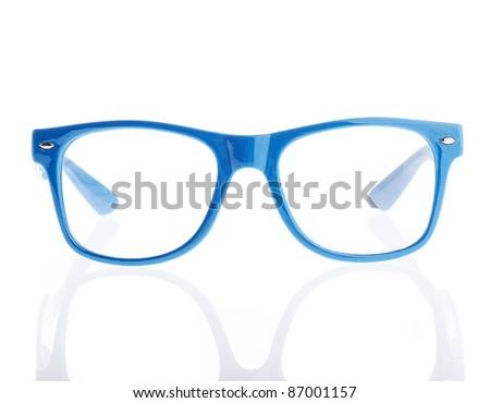 vintage eyeglasses on a white background - stock photo
