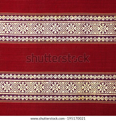 Vintage fabric Thailand is made of hand-woven cotton fabric. Are most commonly used in the Northeast of Thailand. - stock photo