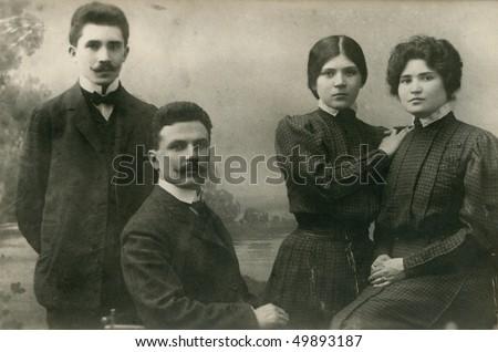 Vintage family photo (circa 1905-1910) - stock photo