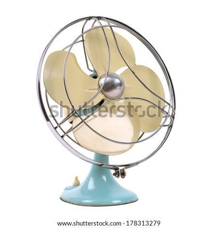 vintage fan isolated over white - stock photo