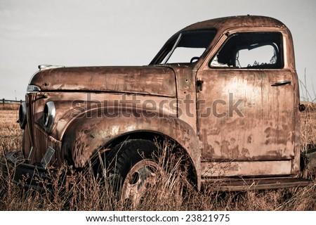 Vintage farm truck - stock photo