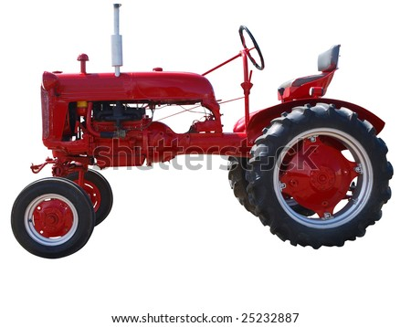 Vintage Farmall Cub isolated with clipping path - stock photo