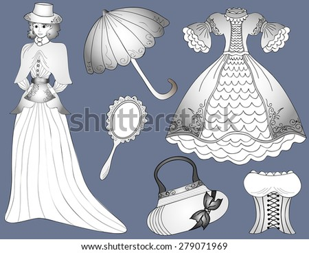Vintage fashion set Woman in dress with umbrella and handbag - stock photo