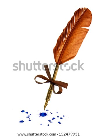 vintage feather pen with blue ink stains isolated on white background - stock photo