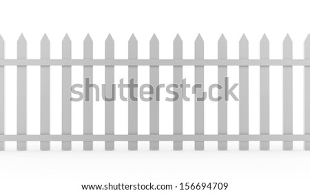 Vintage fence rendered on white background