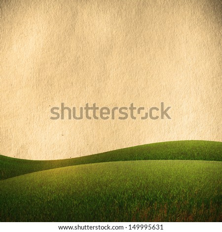 vintage field and blue sky, nature background - stock photo