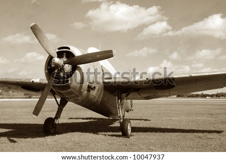 Vintage fighter airplane - stock photo