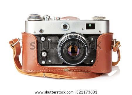 Vintage film camera with leather case. Isolated on white background - stock photo