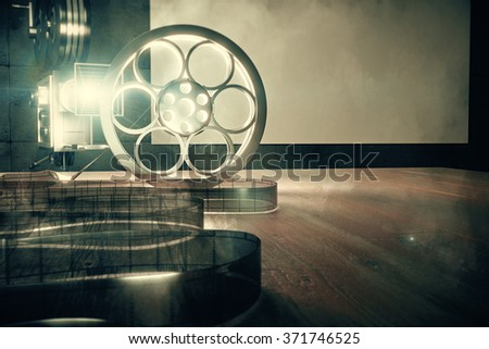 Vintage film camera with old style film cartridge on brown wooden table, retro style photo effect 3D Render - stock photo