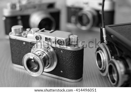 Vintage film cameras - stock photo