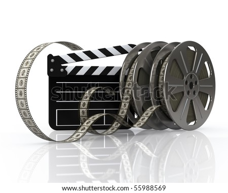 Vintage film reels and film state - stock photo
