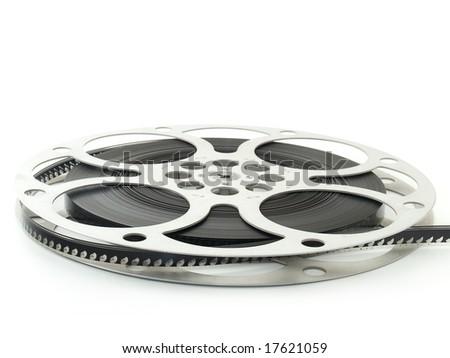 Vintage film spool with film - stock photo