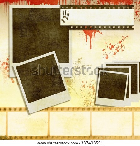 Vintage film strip background with instant photos - stock photo