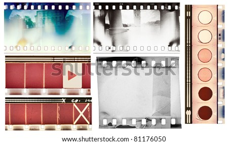 Vintage film textures set, isolated. - stock photo