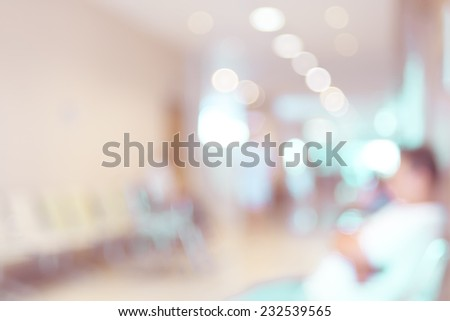 Vintage filter : Blurred patient waiting for see doctor,abstract background - stock photo