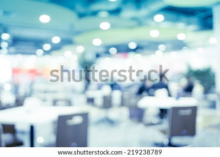 vintage filtered ,food court blurred background with bokeh,defocused lights - stock photo