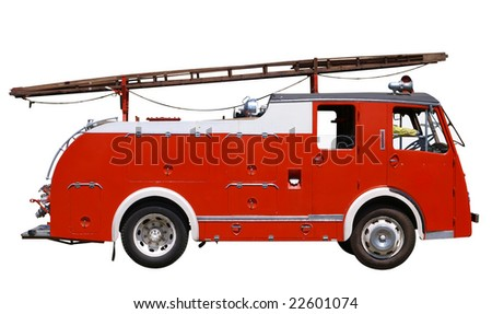 Vintage Fire Engine isolated with clipping path