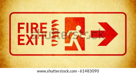 Vintage Fire Exit Sign - stock photo