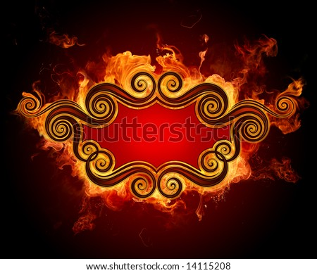 Vintage fire frame - stock photo