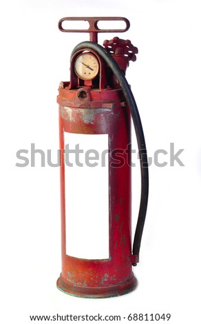 Vintage fire red rusted extinguisher isolated on white - stock photo