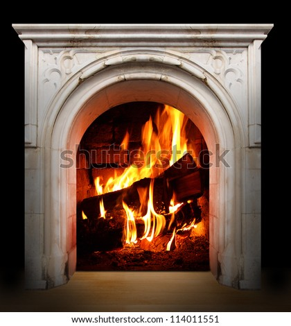 Vintage fireplace with burning logs. Renewable energy concept. - stock photo
