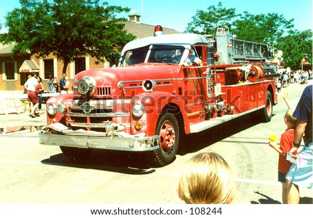 Vintage Firetruck in a Parade - stock photo