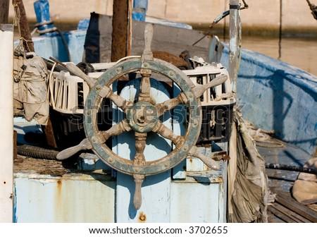 Vintage fishing ship, Jaffa Port, Israel - stock photo