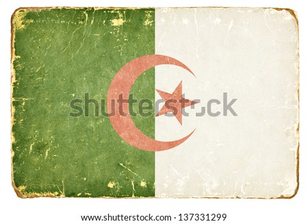 Vintage flag of Algeria. - stock photo