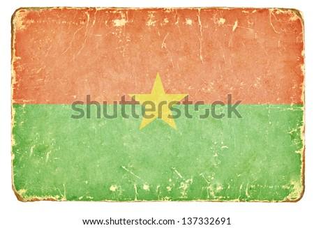 Vintage Flag of Burkina Faso. - stock photo