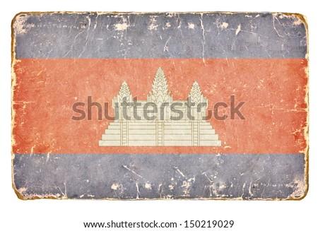 Vintage flag of Cambodia. Background. - stock photo