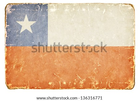 Vintage flag of Chile. - stock photo