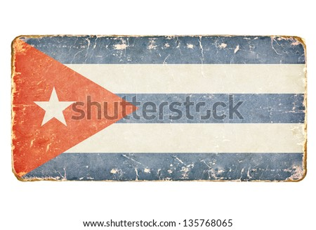 Vintage Flag of Cuba. - stock photo