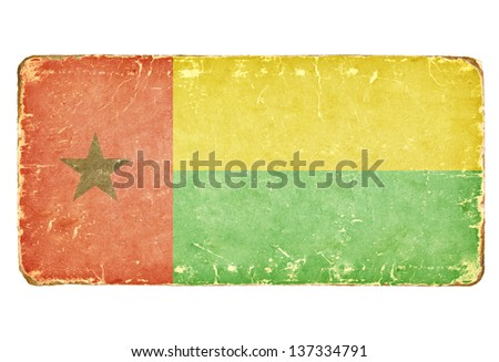 Vintage Flag of Guinea-Bissau. - stock photo
