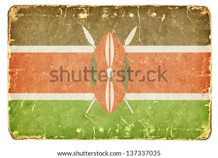 Vintage flag of Kenya. - stock photo