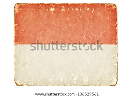 Vintage flag of Monaco. - stock photo